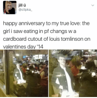 """Jesus, Kendall Jenner, and Love: jill  @clipka  happy anniversary to my true love: the  girl i saw eating in pf changs w a  cardboard cutout of louis tomlinson on  valentines day '14 """"I follow @kalesalad and u should too"""" - Kendall Jenner and Jesus"""