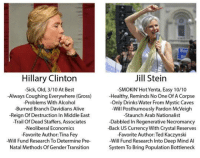 Jill Stein  Hillary Clinton  -Sick, Old, 3/10 At Best  -SMOKIN Hot Yenta, Easy 10/10  Always Coughing Everywhere (Gross)  Healthy, Reminds No One of A Corpse  -Problems With Alcohol  -Only Drinks Water From Mystic Caves  -Burned Branch Davidians Alive  -Will Posthumously Pardon McVeigh  -Reign Of Destruction In Middle East  -Staunch Arab Nationalist  -Trail Of Dead Staffers, Associates  -Dabbled In Regenerative Necromancy  -Neoliberal Economics  -Back US Currency With Crystal Reserves  -Favorite Author:Tina Fey  Favorite Author: Ted Kaczynski  -Will Fund Research To Determine Pre-  Will Fund Research into Deep Mind Al  System To Bring Population Bottleneck  Natal Methods Of Gender Transition this gave me a hearty chuckle