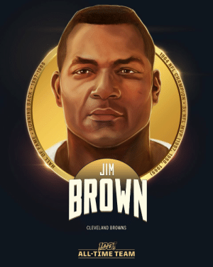 Jim Brown is one of the 12 RBs selected to the #NFL100 All-Time Team!  🐶 3x NFL MVP ('57, '58. '65) 🐶 8x All-Pro 🐶 8x Rushing Title Winner (most ever) 🐶 NFL Champion https://t.co/NDtTzH3yZd: JIM  BROWN  CLEVELAND BROWNS  ALL-TIΜΕ ΤEAΜ  HALL OF FAME RUNNING BACK 1957-1965  1964 NFL CHAMPION 3x NFL MVP (1957, 1958, 1965) Jim Brown is one of the 12 RBs selected to the #NFL100 All-Time Team!  🐶 3x NFL MVP ('57, '58. '65) 🐶 8x All-Pro 🐶 8x Rushing Title Winner (most ever) 🐶 NFL Champion https://t.co/NDtTzH3yZd
