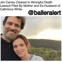 """Drugs, Family, and Herpes: Jim Carrey Cleared In Wrongful Death  Lawsuit Filed By Mother and Ex-Husband of  ona Whte @balleralert Jim Carrey Cleared In Wrongful Death Lawsuit Filed By Mother and Ex-Husband of Cathriona White - blogged by @MsJennyb ⠀⠀⠀⠀⠀⠀⠀ ⠀⠀⠀⠀⠀⠀⠀ After years of back and forth between JimCarrey and the family of his ex-girlfriend CathrionaWhite, the actor has officially been cleared of any wrongdoing in connection to White's death. ⠀⠀⠀⠀⠀⠀⠀ ⠀⠀⠀⠀⠀⠀⠀ According to Daily Mail, Carrey had been in a legal battle with White's estranged mother and her ex-husband after the two accused the actor of giving White the drugs she used to commit suicide in 2015. ⠀⠀⠀⠀⠀⠀⠀ ⠀⠀⠀⠀⠀⠀⠀ The duo used a series of medical records and personal notes and letters to prove their claims that Carrey drove their loved-one to suicide. Aside from providing White with drugs, Carrey was accused of giving the woman herpes. However, the actor's legal team was able to debunk those claims with texts messages that proved White forged her medical records in an extortion plot for """"millions of dollars"""" ⠀⠀⠀⠀⠀⠀⠀ ⠀⠀⠀⠀⠀⠀⠀ Now though, after a longstanding legal battle, Carrey has scored a win in the wrongful death case against him. According to the Hollywood Reporter, a rep for the actor confirmed the case was dismissed on Jan. 25, but refused to further comment on the matter."""