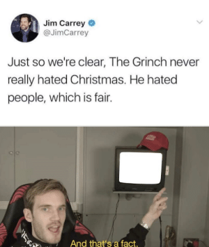 Can relate: Jim Carrey  @JimCarrey  Just so we're clear, The Grinch never  really hated Christmas. He hated  people, which is fair.  ASZ  ב  And that's a fact. Can relate