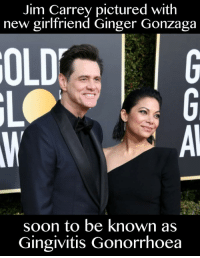 Jim Carrey: Jim Carrey pictured with  new girlfriend Ginger Gonzaga  OLD  soon to be known as  Gingivitis Gonorrhoea