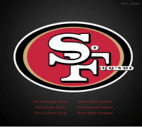 BREAKING: 49ers unveil their new logo.: Jim Harbaugh: Gone  Frank Gore: Gone  Chris Culiver: Gone  Patrick W  Retired  Chris Borland: Retired  Bruce Miller: Arrested  CONFL MEMES BREAKING: 49ers unveil their new logo.