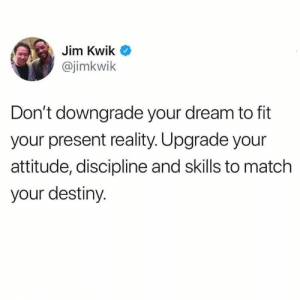 Destiny, Match, and Attitude: Jim Kwik  @jimkwik  Don't downgrade your dream to fit  your present reality. Upgrade your  attitude, discipline and skills to match  your destiny. 🎯🙌