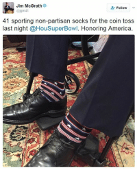 Check out the patriotic socks former President George H.W. Bush sported during the SuperBowl! GeorgeBush 🏈🇺🇸: Jim McGrath  Follow  41 sporting non-partisan socks for the coin toss  last night @HouSuperBowl. Honoring America Check out the patriotic socks former President George H.W. Bush sported during the SuperBowl! GeorgeBush 🏈🇺🇸