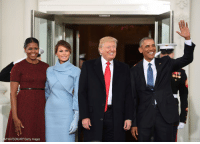 President @barackobama and First Lady @michelleobama44 welcome President-elect @realDonaldTrump and soon-to-be First Lady Melania Trump to the @whitehouse. Trump45 inaugurationday: JIM WATSON/AFP/Getty Images President @barackobama and First Lady @michelleobama44 welcome President-elect @realDonaldTrump and soon-to-be First Lady Melania Trump to the @whitehouse. Trump45 inaugurationday