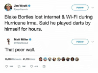 Lmao: Jim Wyatt  @jwyattsports  Follow  Blake Bortles lost internet & Wi-Fi during  Hurricane lrma. Said he played darts by  himself for hours.  Matt Miller +  @nfldraftscout  Follow  That poor wall.  15,753 Retweets 41,113 Likes Lmao