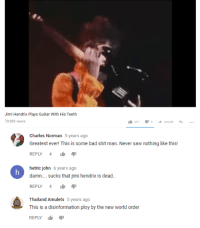 Bad Saw And Shit Jimi Hendrix Plays Guitar With His Teeth 78989 Views