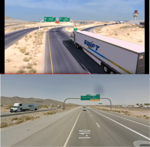 Decided to compare American truck simulator to the real thing when I noticed something weird: Jimmie Kerr Bivd san Diego Decided to compare American truck simulator to the real thing when I noticed something weird
