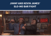 """<p><a href=""""https://www.youtube.com/watch?v=PSuq3IpBHmo&amp;index=6&amp;list=UU8-Th83bH_thdKZDJCrn88g"""" target=""""_blank"""">Jimmy and Kevin James got in a slow-motion bar fight as part of their'80s drama,""""Last Call Saloon""""!</a></p>: JIMMY AND KEVIN JAMES  SLO-MO BAR FIGHT   BAR  OPEN  a BAR <p><a href=""""https://www.youtube.com/watch?v=PSuq3IpBHmo&amp;index=6&amp;list=UU8-Th83bH_thdKZDJCrn88g"""" target=""""_blank"""">Jimmy and Kevin James got in a slow-motion bar fight as part of their'80s drama,""""Last Call Saloon""""!</a></p>"""
