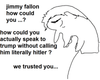 Jimmy Fallon, Hitler, and Trump: Jimmy fallon  how could  you  how could you  actually speak to  trump without calling  him literally hitler  we trusted you...