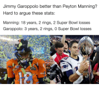 Memes, Peyton Manning, and 🤖: Jimmy Garoppolo better than Peyton Manning?  Hard to argue these stats:  Manning: 18 years, 2 rings, 2 Super Bowl losses  Garoppolo: 3 years, 2 rings, 0 Super Bowl losses  COS  @NFL MES