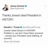 Funny, Oscars, and Jimmy Kimmel: Jimmy Kimmel  @jimmykimmel  Thanks, lowest rated President in  HISTORY.  Donald J. Trump @realDonaldTrump  Lowest rated Oscars in HISTORY  Problem is, we don't have Stars anymore  - except your President (just kidding, of  course)!  Show this thread trumps tweet is so funny he's so fuckijg egocentric ahhahahahha