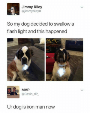 Wonder how will he explain this to the vet.: Jimmy Riley  @jimmyriley0  So my dog decided to swallow a  flash light and this happened  E MVP  @Gavin_dP  Ur dog is iron man now Wonder how will he explain this to the vet.