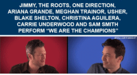 "Ariana Grande, Music, and One Direction: JIMMY, THE ROOTS, ONE DIRECTION  ARIANA GRANDE, MEGHAN TRAINOR, USHER,  BLAKE SHELTON, CHRISTINA AGUILERA,  CARRIE UNDERWOOD AND SAM SMITH  PERFORM ""WE ARE THE CHAMPIONS""   FALLONTONIGHT <p><a href=""https://www.youtube.com/watch?v=KHHqPTQDIlo"" target=""_blank""><b>Jimmy, The Roots, and music superstars sing &ldquo;We Are the Champions&rdquo; a cappella</b></a><br/></p>"