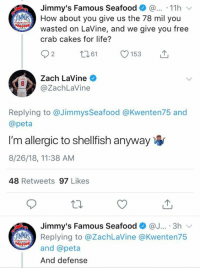 Zach LaVine got destroyed by a restaurant 💀: Jimmy's Famous Seafood . 11h  JMMİS) How about you give us the 78 mil you  wasted on LaVine, and we give you free  crab cakes for life?  92 61 153  Zach LaVine  Cay  @ZachLaVine  Replying to @Jimmys Seafood @Kwenten75 and  @peta  I'm allergic to shellfish anyway  8/26/18, 11:38 AM  48 Retweets 97 Likes  Jimmy's Famous Seafood@. 3h  Replying to @ZachLaVine @Kwenten75  and @peta  And defense Zach LaVine got destroyed by a restaurant 💀
