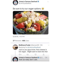 Funny, Vegan, and Yeah: Jimmy's Famous Seafood  JimmysSeafood  Be sure to try our vegan options.  8/29/18, 1:43 PM  27 Retweets 486 Likes  BioBinaryTrader @kenser80 12h  Replying to @JimmysSeafood  Just so you guys know. Feta cheese is  not vegan. Might want to look into that  Jimmy's Famous Seafood@Ji... 12h v  Yeah we really don't care. Whatever works right?