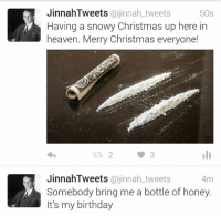 Heaven, Memes, and 🤖: Jinnah Tweets  @jinnah tweets  50s  Having a snowy Christmas up here in  heaven. Merry Christmas everyone!  Jinnah Tweets  ajinnah tweets  4m  Somebody bring me a bottle of honey.  It's my birthday