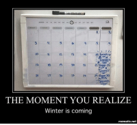 Hbo, Memes, and Winter: -JINRONES  HRONES  Ge  229  25  36  28  HRONES  THE MOMENT YOU REALIZE  Winter is coming  mematic.net We are so close to season 7! gameofthrones got hbo asoiaf thronesmemes