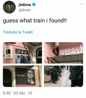 •i would never get off skdhakd•: jintime  @ikran  guess what train i found!!  Traduire le Tweet  방탄소년  eeEE 2515  Happy JinDay  IN  5:48 03 déc. 18 •i would never get off skdhakd•