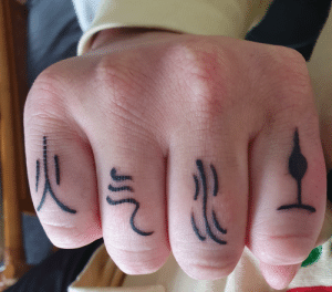 Book, Common, and Got: JIS Finally got the each book symbols on my fingers. If anyone is wondering, I already have the common nation symbols integrated into my sleeve