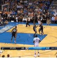 Of course Russ got this to go. 😂😂😂: (Jist. A  SPURS  41  THUNDER 41 2ND QTR  G Of course Russ got this to go. 😂😂😂