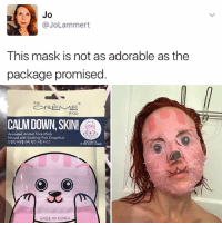 """It's like my great grandma Kalette Salad used to say, """"products aren't always as they appear on their packaging"""" 🥗: Jo  (a Lammert  This mask is not as adorable as the  package promised  a REME  Shop  CALM DOWN, SKIN!Ca  Animated Animal Face Mask  Infused with Soothing Pink Grapefruit  ADO CHARACTER  O O  MADE IN KOREA It's like my great grandma Kalette Salad used to say, """"products aren't always as they appear on their packaging"""" 🥗"""