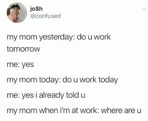 Confused, Twitter, and Work: jo$h  @confused  my mom yesterday: do u work  tomorrow  me: yes  my mom today: do u work today  me: yes i already told u  my mom when i'm at work: where are u credit and consent: @confused on Twitter
