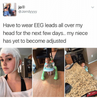 Head, Memes, and 🤖: JO  @Jorrdyyyy  Have to wear EEG leads all over my  head for the next few days.. my niece  has yet to become adjusted Don't trust anyone