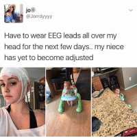 Head, Memes, and 🤖: JO  @Jorrdyyyy  Have to wear EEG leads all over my  head for the next few days.. my niece  has yet to become adjusted 😹😻