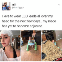 Head, Girl Memes, and Next: jo  @Jorrdyyyy  Have to wear EEG leads all over my  head for the next few days.. my niece  has yet to become adjusted 😂😂😂😂