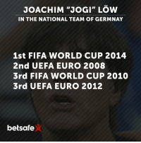"""JOACHIM """"JOGI"""" LOW  IN THE NATIONAL TEAM OF GERMNAY  1st FIFA WORLD CUP 2014  2nd UEFA EURO 2008  3rd FIFA WORLD CUP 2010  3rd UEFA EURO 2012  betsafe Joachim """"Jogi"""" Löw extends his contract as Germany National Football Team manager until 2020. 🇩🇪 GER"""