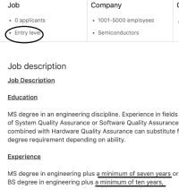 Engineering, Ability, and Experience: Job  Company  O applicants  1001-5000 employees  Entry level  . Semiconductors  Job description  Job Description  Education  MS degree in an engineering discipline. Experience in fields  of System Quality Assurance or Software Quality Assurance  combined with Hardware Quality Assurance can substitute f  degree requirement depending on ability.  Experience  MS degree in engineering plus a minimum of seven years or  BS degree in engineering plus a minimum of ten years