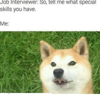 Job Interview, Memes, and 🤖: Job Interviewer: So, tell me what special  skills you have.  Me