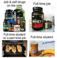 Spot on.: Job & sell drugs  Full-time job  on the side  ON  GOLD STANDARD  BCASEIN  TEND  GOLD STANDARD  WHEY  SCELLUCOR  CREATINE  POWDER  AIMR  FISH OIL  SPAK  Full-time student  w/ a part time job  Full-time student  IG: othe gainz Spot on.