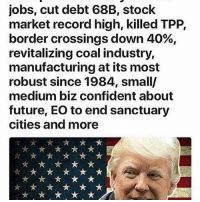Memes, 🤖, and Tpp: jobs, cut debt 68B, stock  market record high, killed TPP,  border crossings down 40%,  revitalizing coal industry,  manufacturing at its most  robust since 1984, smally  medium biz confident about  future, EO to end sanctuary  cities and more