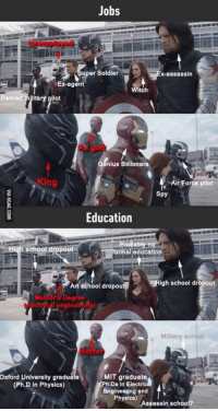 "Team Captain America vs Team Iron Man. Choose your side! http://9gag.com/gag/arK2R3X?ref=fbp: Jobs  uper Soldier  x-assassin  TEX-agent  tch  Retired mijitary pilot  Genius Billionare  ""Air Force pilot  Spy  Education  Probably m  school dropout  formal education  Art school dropou  igh school dropout  Military school  MIT graduate  Oxford University graduate  (Ph.D in Physics)  Engineeing and  Physics)  Assassin schoo Team Captain America vs Team Iron Man. Choose your side! http://9gag.com/gag/arK2R3X?ref=fbp"