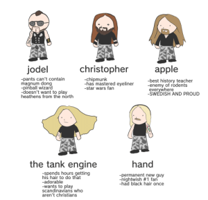 kidzbopdeathmetal:  monochromatic–stains: tag yourself: sabaton edition @inyumenxibalba @againstthegrainphoto: jodel  christopher  apple  pants can't contain  magnum dong  -pinball wizard  -doesn't want to play  heathens from the north  -chipmunk  -has mastered eyeliner  -star wars fan  -best history teacher  -enemy of rodent:s  evervwhere  -SWEDISH AND PROUD  the tank engine  hand  -spends hours getting  his hair to do that  -adorable  -wants to play  scandinavians who  aren't christians  -permanent new guy  -nightwish #1 fan  -had black hair once kidzbopdeathmetal:  monochromatic–stains: tag yourself: sabaton edition @inyumenxibalba @againstthegrainphoto