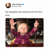 Ok but this is such an iconic image: Jody Avirgan  @jodyavirgan  My daughter just tried pizza for the first  time Ok but this is such an iconic image