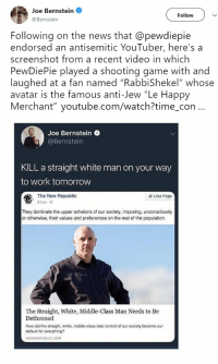 7d8cc71cfdb Joe Bernstein Follow Following on the News That Endorsed an Antisemitic  YouTuber Here s a Screenshot From a Recent Video in Which PewDiePie Played  a ...