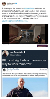 cc89d8e1e0c Joe Bernstein Following on the News That Endorsed an Antisemitic YouTuber  Here s a Screenshot From a Recent Video in Which PewDiePie Played a  Shooting Game ...