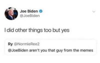 meirl: Joe Biden  @JoeBiden  I did other things too but yes  Ry @NormieRee2  @JoeBiden aren't you that guy from the memes meirl