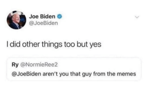 Dank, Joe Biden, and Memes: Joe Biden  @JoeBiden  I did other things too but yes  Ry @NormieRee2  @JoeBiden aren't you that guy from the memes meirl by SuspiciousShape MORE MEMES