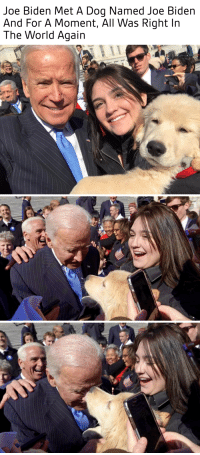 """Come Over, Instagram, and Joe Biden: Joe Biden Met A Dog Named Joe Biden  And For A Moment, All Was Right In  The World Again joebidensanonymous:Biden is a 4-month-old Golden Retriever named after the former vice president. His owner Sidney took him to the Capitol to see Joe Biden give a speech. """"As soon as Joe Biden saw the dog during his speech, he pointed at the dog, and then started like cracking up. Right towards the end, I kind of signaled him, and he gave me a wink to come over,"""" Sydney said. """"When I told him his name was Biden, his face lit up and he started kissing the dog, which is like exactly what I expected Joe Biden would do"""" By the way, Biden the puppy has an Instagram"""
