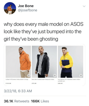 Ghosted: Joe Bone  @josefbone  why does every male model on ASOS  look like they've just bumped into the  girl they've been ghosting  Rains Short Hooded Jacket Waterproof in Black  Carhartt WIP Summer Nimbus Jacket in Orange  New Bolance 78 Windbreaker Jocket in Yellow  73557 AYL  135.00  75.00  c80.00  3/22/18, 6:33 AM  36.1K Retweets 166K Likes Ghosted