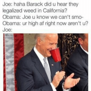 Blaze it O, Blaze it ????♨????: Joe: haha Barack did u hear they  legalized weed in California?  Obama: Joe u know we can't smo-  Obama: ur high af right now aren't u?  Joe: Blaze it O, Blaze it ????♨????