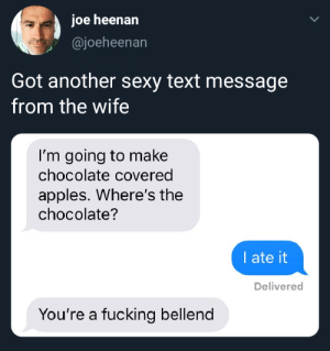 me_irl: joe heenan  @joeheenan  Got another sexy text message  from the wife  I'm going to ma ke  chocolate covered  apples. Where's the  chocolate?  I ate it  Delivered  You're a fucking bellend me_irl
