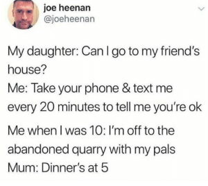 (credit: @joeheenan/twitter): joe heenan  @joeheenan  My daughter: Can I go to my friend's  house?  Me: Take your phone & text me  every 20 minutes to tell me you're ok  Me when I was 10: I'm off to the  abandoned quarry with my pals  Mum: Dinner's at 5 (credit: @joeheenan/twitter)
