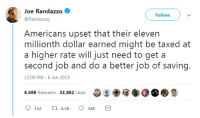 Politics, Break, and Time: Joe Randazzo  @Randazzoj  Follow  Americans upset that their eleven  millionth dollar earned might be taxed at  a higher rate will just need to get a  second job and do a better job of saving.  12:09 PM 6 Jan 2019  6,499 Retweets 33,892 Likes