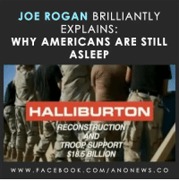 Joe Rogan: JOE ROGAN BRILLIANTLY  EXPLAINS:  WHY AMERICANS ARE STILL  ASLEEP  HALLIBURTON  YRECONSTRUCTO  TROOP SUPPORT  $185 W W W. F A CEB O OK. C O M ANO NEW S. C O